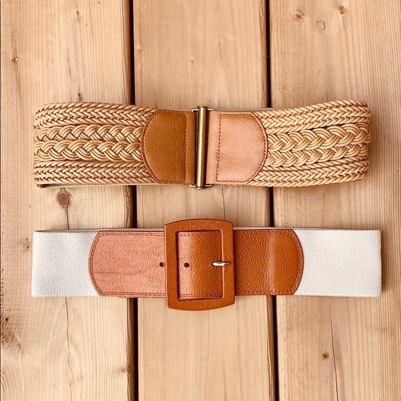 🔶SET OF TWO 🔶Tan Waist Accent Belts Calvin Klein